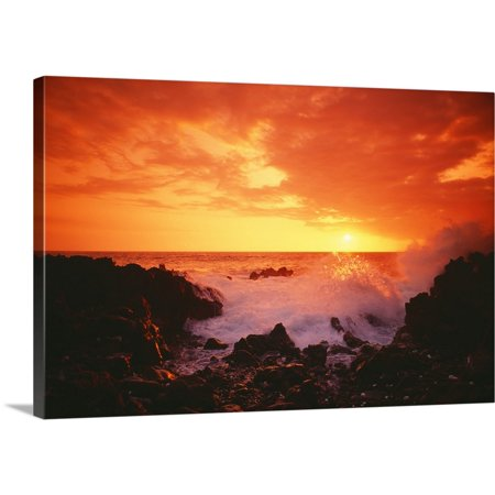 Great BIG Canvas | Greg Vaughn Premium Thick-Wrap Canvas entitled Hawaii, Big Island, Kona, Keahou, Sunset And Surf On