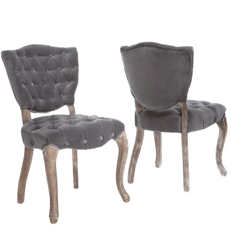 Le House Monroe Tufted Grey Fabric Dining Chairs Set Of 2