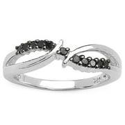 Malaika  Sterling Silver 1/8ct TDW Black Diamond Ring