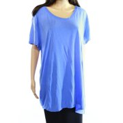 Sejour NEW Blue Slate Solid Women's Size 1X Plus Scoop-Neck Tee Blouse $49