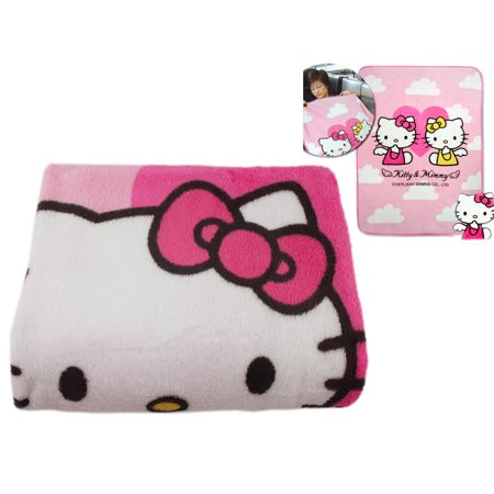 Hello Kitty and Mimmy White Soft Plush Pink Colored Blanket ()