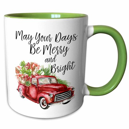 3dRose May Your Days Be Merry and Bright Watercolor Christmas Truck - Two Tone Green Mug,