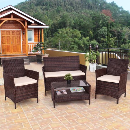 4pcs Outdoor Patio Pe Rattan Wicker Table Shelf Sofa Furniture Set