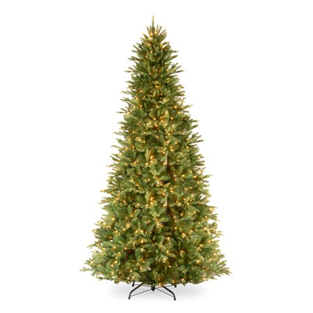 National Tree Pre-Lit 12' Feel-Real Tiffany Fir Slim Hinged Artificial Christmas Tree with 1200 Clear Lights