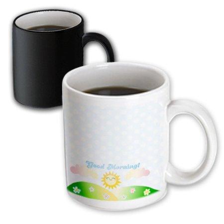 3dRose Good Morning sunshine - cute kawaii happy sun rising over hills - baby blue polka dots sunny summer, Magic Transforming Mug, 11oz