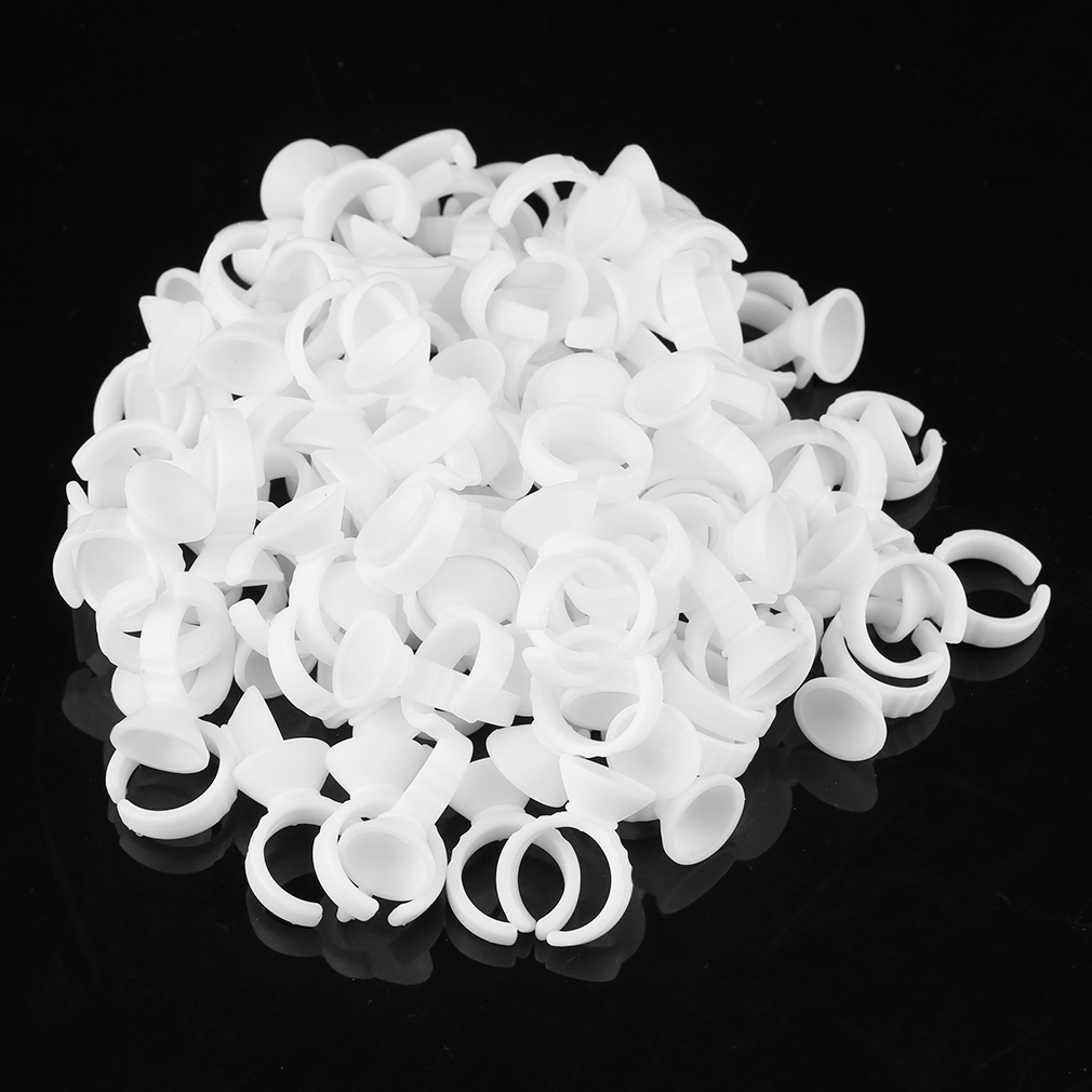 100pcs Pc White Tattoo Ink Ring Makeup L/M/S Size Holders Tattoo Supplies