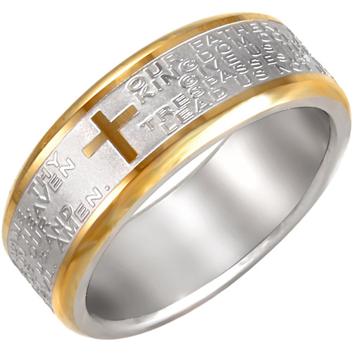 Men's Lord's Prayer Ring in Yellow and White Stainless Steel, 7mm