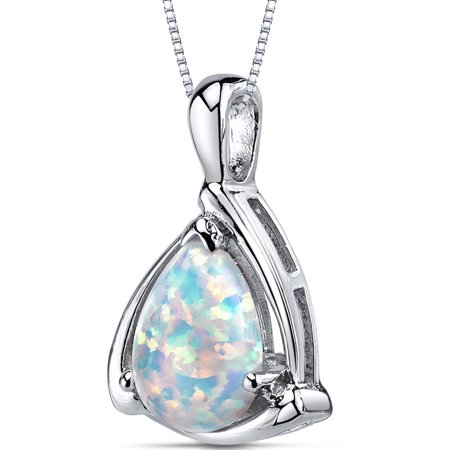 1.50 Ct Pear Shape Created Opal Rhodium-Plated Sterling Silver Pendant, 18 Australian Opal Silver Pendant