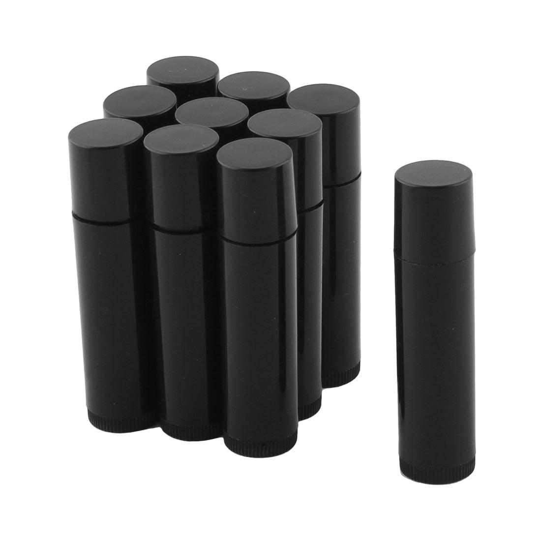 Lady Plastic Empty Lip Balm Tube Lipstick Chapstick Container Black 10 Pcs