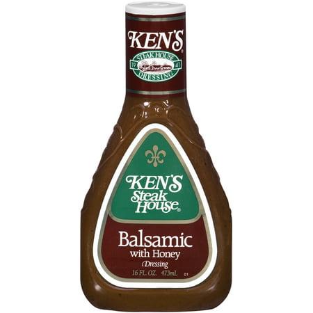 Kens Steakhouse Dressing, Balsamic with Honey, 16 Fl Oz