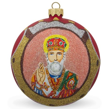 St Nicholas with the Bible on Red Glass Ball Christmas Ornament 4 Inches](St Patricks Day Ornaments)
