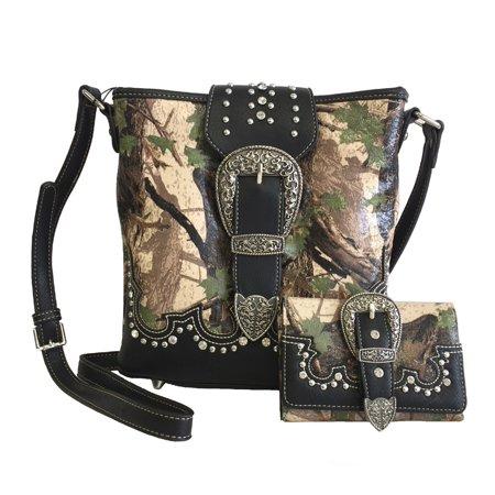 e8bd9f423 Montana West - American Bling Concealed Gun Messenger Purse Wallet Set  Camouflage Print Green - Walmart.com