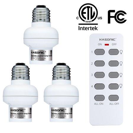Kasonic Smart Home Wireless Remote Lamp Holder Purpose Combo Set 3