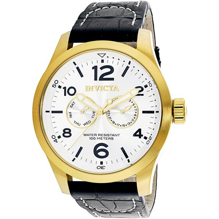 Invicta Men's Specialty 12172 Gold Leather Quartz Dress Watch