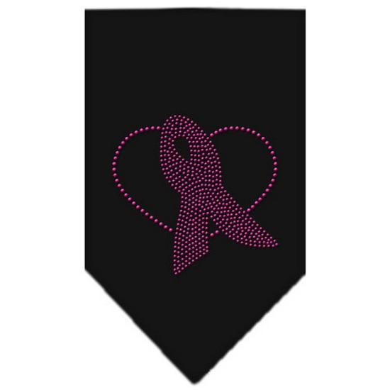 Pink Ribbon Rhinestone Bandana Black Large