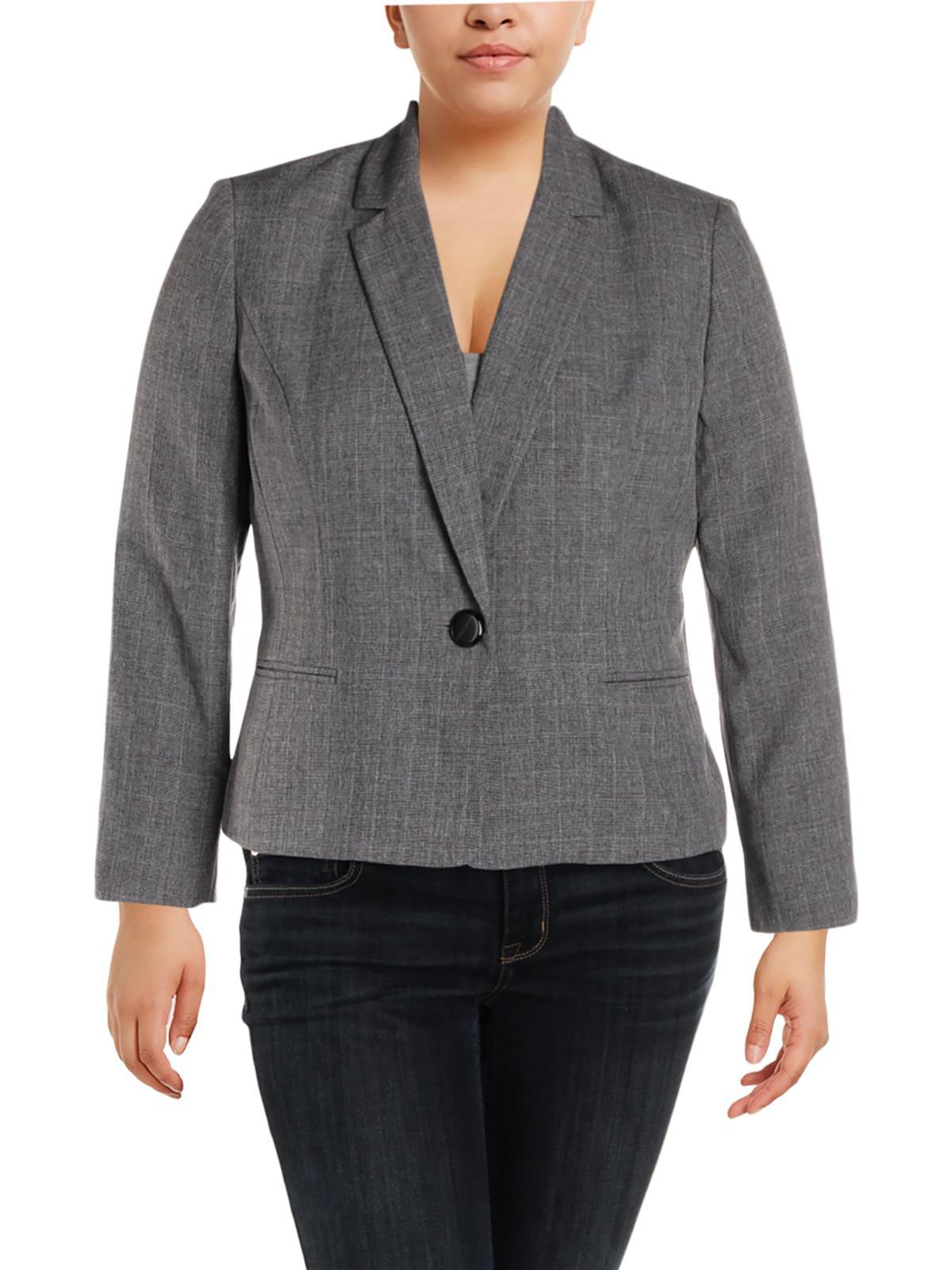 Le Suit Womens Petites Plaid Office One-Button Blazer Gray 14P