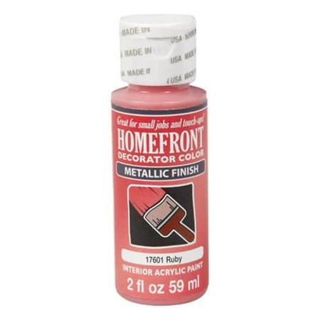 Homefront 17601 2 oz Ruby Metallic Decorator Color Acrylic Paint - pack of