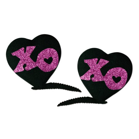 Club Pack of 24 Black and Pink XOXO Hair Clip Bachelorette Party Favor Costume Accessories - Bachelorette Pins