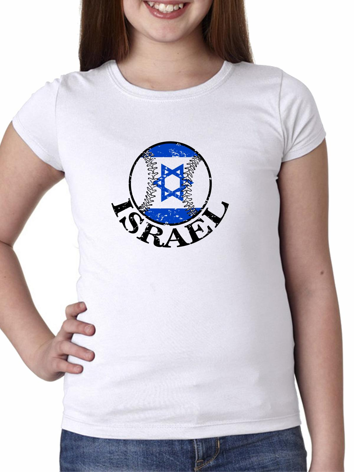 Israel Baseball Classic - World Vintage with Flag Girl's Cotton Youth T-Shirt