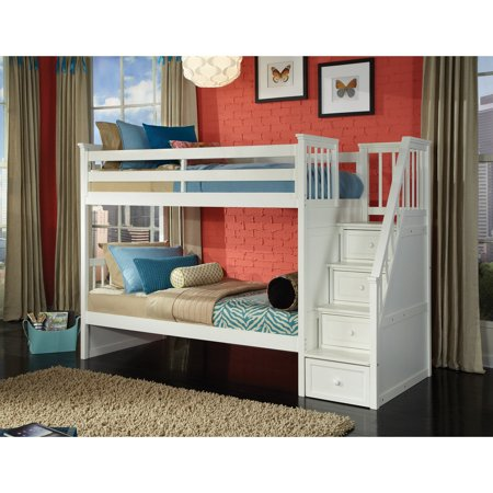 Hillsdale School House Stair Bunk, White (Tree House Bunk Bed)