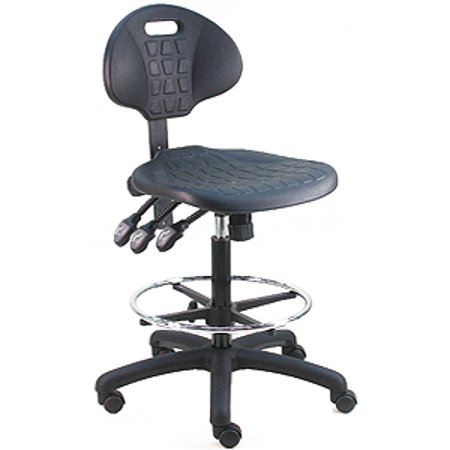 BenchPro Deluxe HD Cleanroom Lab Polyurethane Chair / workbench stool, three level control with true ergonomic features