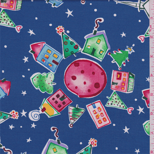 Blue Holiday Print Cotton, Fabric By the Yard