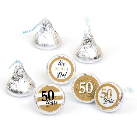 We Still Do - 50th Wedding Anniversary - Party Round Candy Sticker Favors - Labels Fit Hershey's Kisses (1 sheet of 108) Kisses Wedding Favors