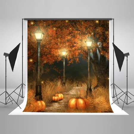 MOHome Polyster 5x7ft Happy Halloween Backdrops Photography Smile Pumpkin Bright Moon Glowworms Photo Booth Props for - Happy Halloween Photos Pumpkins