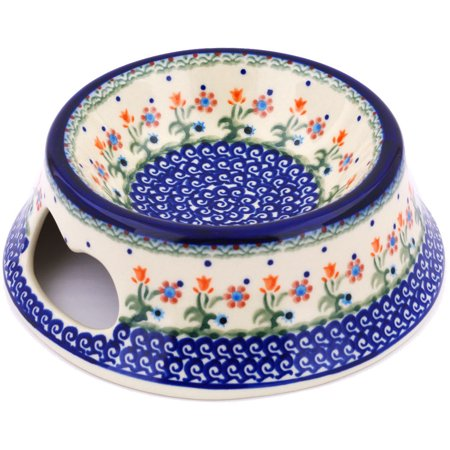 Polish Pottery 9-inch Pet Bowl (Spring Flowers Theme) Hand Painted in Boleslawiec, Poland + Certificate of Authenticity