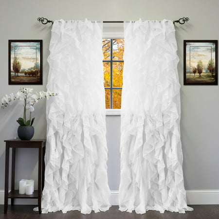 Chic Sheer Voile Vertical Ruffled Tier Window Curtain Panel 108