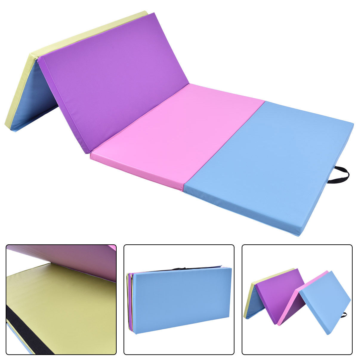 Costway 4'x8'x2'' Gymnastics Mat Folding PU Panel  Exercise Multi-Colors 2016 New