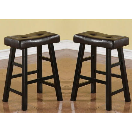 "Set of 2 Espresso Faux Leather Solid Wood 29""H Saddle Counter Height ..."