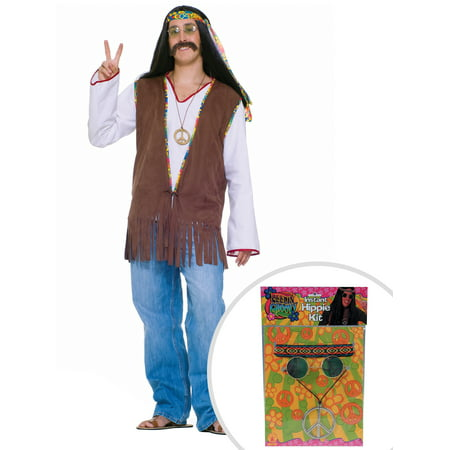 60s Hippie Costume Kit Adult Standard Vest With Feelin' Groovy Accessory Package - Hippi Costume