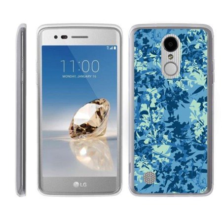 TurtleArmor ® | For LG LV3 | LG Aristo | LG K8 (2017) [Flexible Case] Slim Fitted TPU Case - Blue Leaves Camouflage