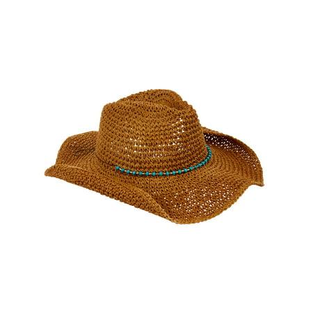 Eliza May Rose Women's Straw Cowboy Hat (Natural Raffia Straw Hat)