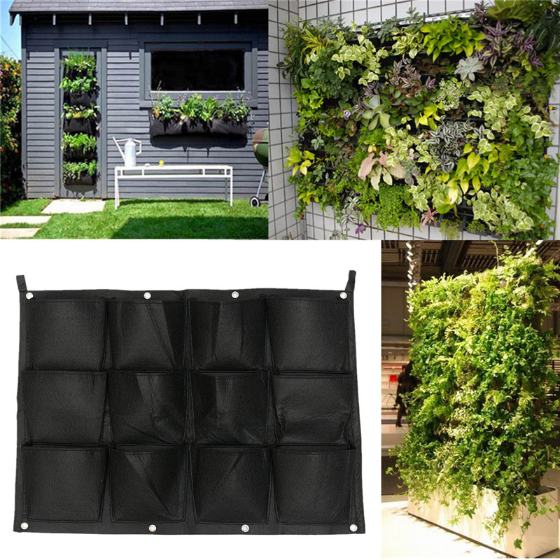 12 Pockets Indoor Outdoor Vertical Garden Wall Planter Hanging Planting Bag Grow Bags Garden Pot