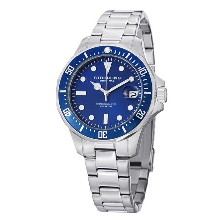 Aquadiver Mens Dive Watch - Quartz Analog Waterproof Sports Watch - Blue Dial Date Display Swim Wrist Watch for Men - Luminous Waterproof Watch with Stainless Steel Bracelet (Mens Sport Blue Dial)