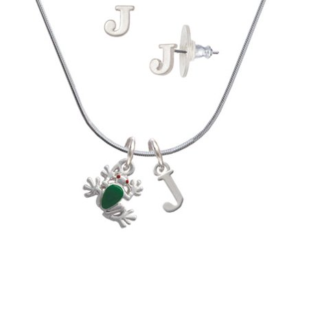 Frog Jewelry - Mini Green Tree Frog - J Initial Charm Necklace and Stud Earrings Jewelry Set