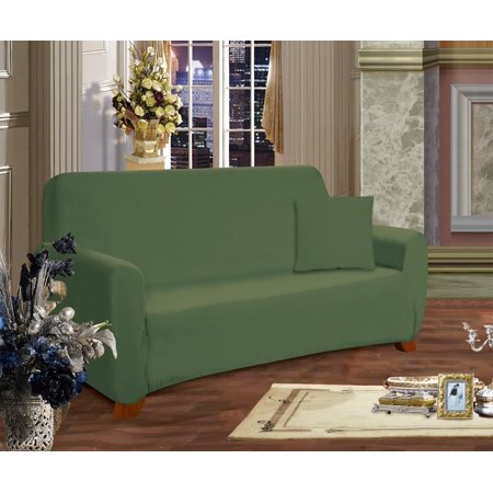 Elegant Comfort Collection Luxury Soft Furniture Jersey STRETCH SLIPCOVER, Sofa Sage-Green