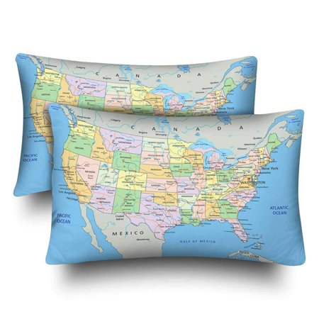 GCKG United States of America Highly Detailed Political Map Labeling Pillow  Cases Pillowcase 20x30 inches Set of 2 Pillow Covers Protector   Walmart ...