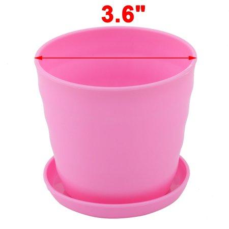 Apartment Desktop Plastic Cactus Plant Flower Seed Pot Tray Holder Pink 2pcs - image 1 of 4