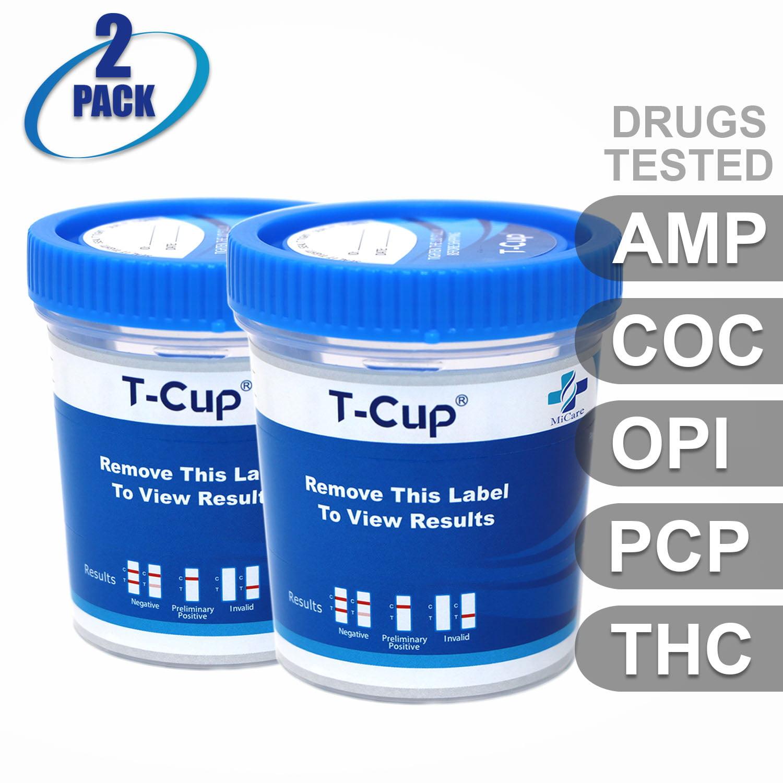 MiCare [2pk] - 5-Panel T-Cup Instant Urine Drug Test (AMP/COC/OPI/PCP/THC) #MI-TDOA-154