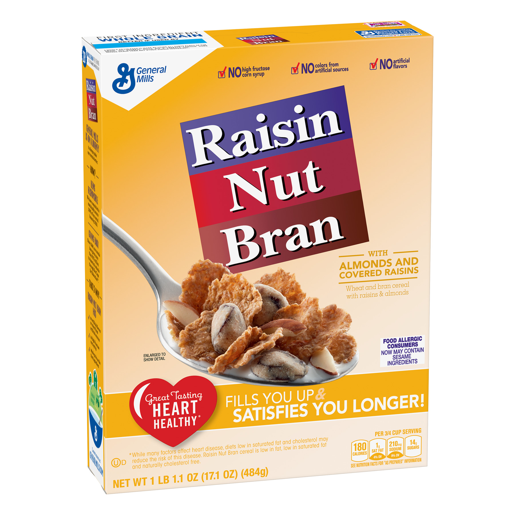 Raisin Nut Bran Breakfast Cereal, 17.1 oz Box