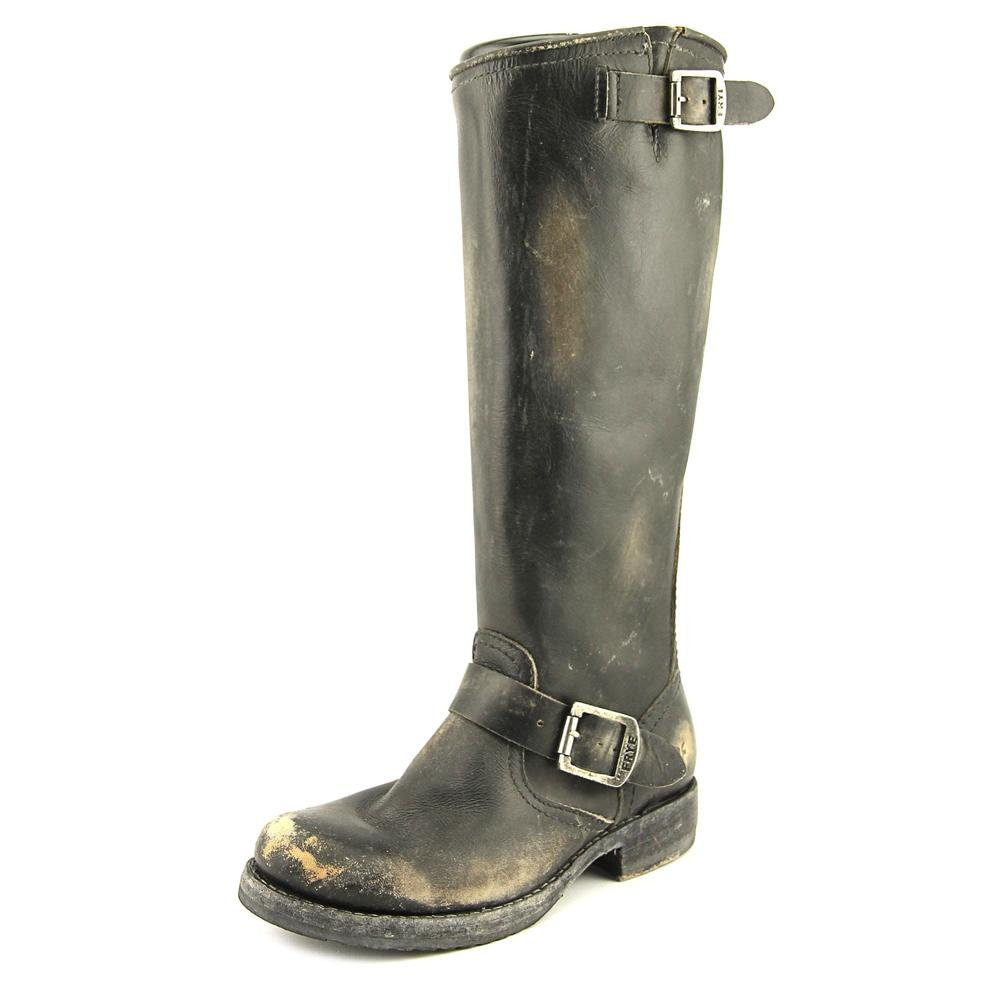 Frye Veronica Slouch Women  Round Toe Leather Black Mid C...