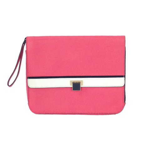 Juicy Couture Luxe Saffiano Leather Clutch Wristlet, Pink Pink Leather Wristlet