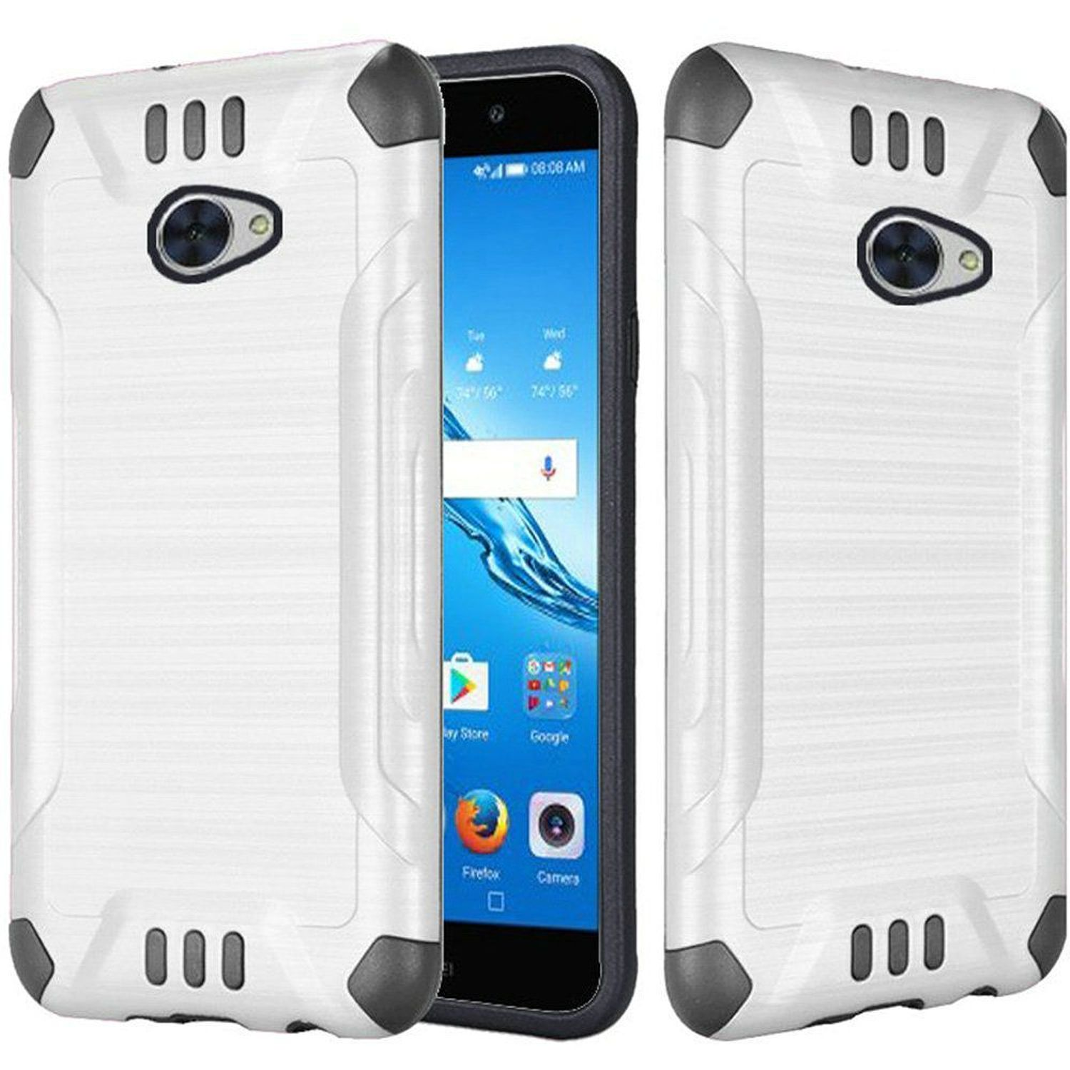 Huawei Ascend XT2 Case, by HR Wireless Slim Armor Dual Layer [Shock Absorbing] Hybrid Brushed Hard Plastic/Soft TPU Rubber Case Cover For Huawei Ascend XT2, White/Black