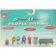Life Like 1857 O Scale  Sitting People Figures & Bench (6)