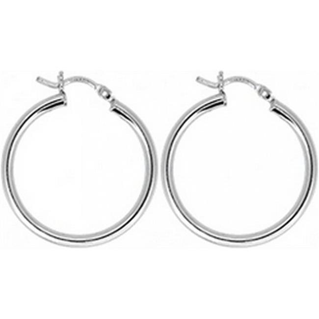 Doma Jewellery DJS02311 Sterling Silver (Rhodium Plated) Hoop Earring - 18mm x 2. 5mm