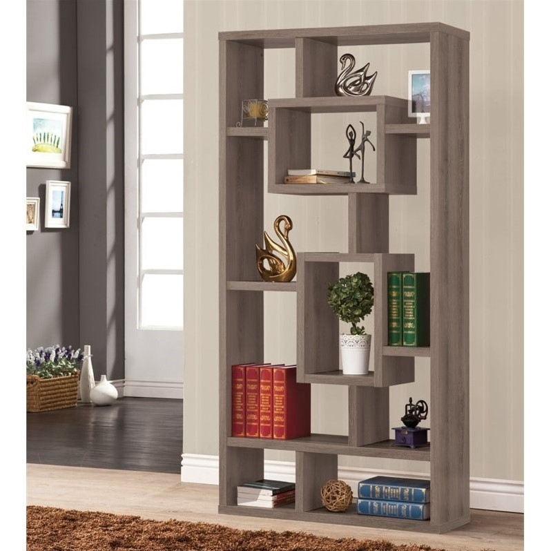Bowery Hill Modern Bookcase In Dark Gray