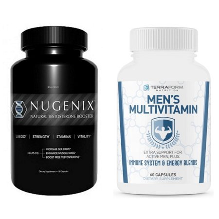 Nugenix Free Testosterone Booster 90 Ct and Terraform Men's Multivitamin 60 Ct For Men's Daily Vitality Support and Nutritional Needs Complete (Best Testosterone Stack Cycle)